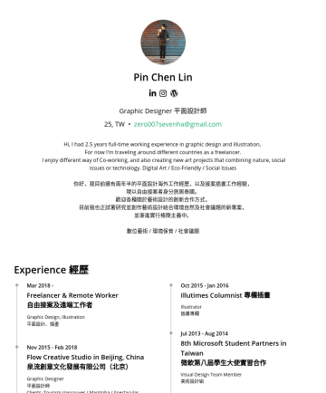 Graphic Designer Resume Samples - University 台灣國立高雄師範大學 Bachelor of Visual Design 視覺設計學系畢 Skills 技能 Adobe Photoshop Adobe Illustrator Adobe Indesign Adobe After Effect Procreate ( ipad pro) Cinema 4D Languages 語言 Mandarin 中文 Taiwanese 台語 English 英...