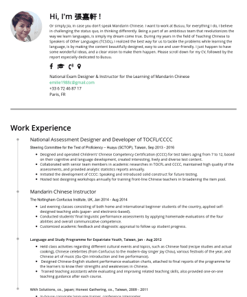 Resume Examples - Hi, I'm 張嘉軒 ! Or simply Jia, in case you don't speak Mandarin Chinese. I want to work at Busuu, for everything I do, I believe in challenging the s...