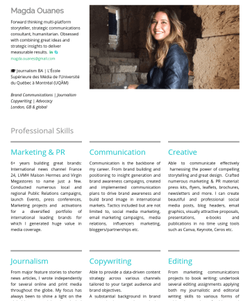 Brand Communications | Copywriting | Journalism | Creative Writing    Resume Samples - and brand objectives. A substantial background in brand communications and marketing combined with strong factual, persuasive and creative writing skills enables me to create high-quality and compelling content that resonates powerfully with your audience while achieving your business goals. Editing From marketing communications projects to book writing; undertook several...