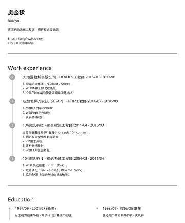 Nick Wu's CakeResume - 吳金樑 Nick Wu 資深網站系統工程師、資深網頁程式設計師 曾擔任 104人力銀行 加值網站維運工程師,有大型網站架構經驗, 也曾擔任104會員中心(pda.104.com.tw)系統開發工程師,有處理大量會員資料經驗。 工作之餘,除了適當的休息,偶爾也會參加研討會與讀書會,吸取新知與適時...