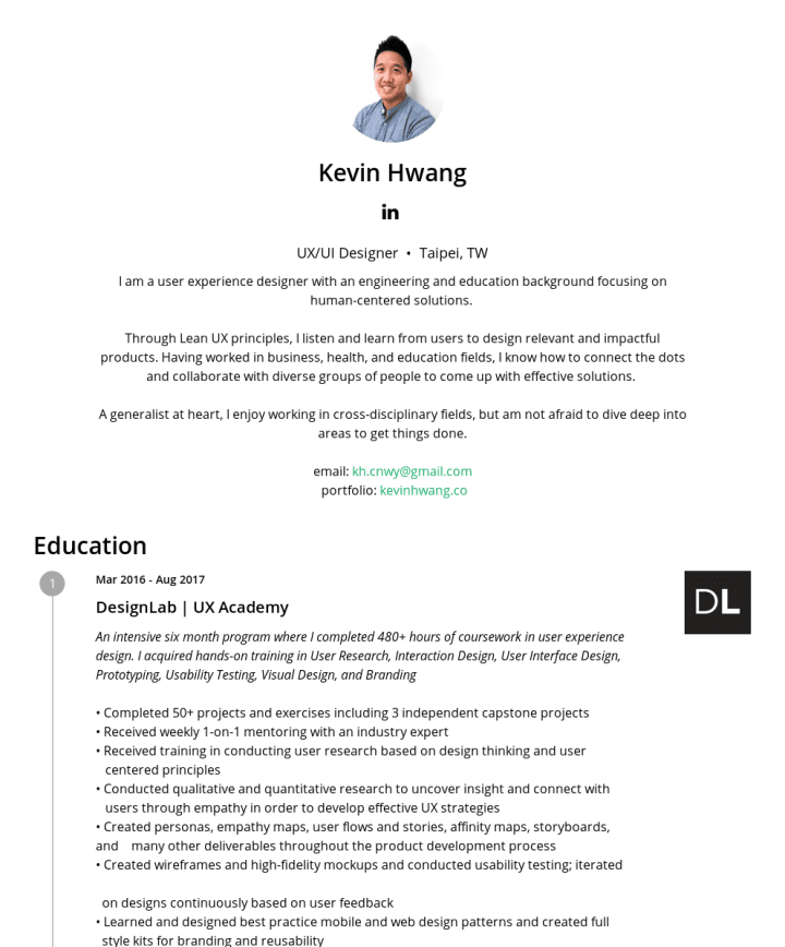 Kevin Hwang – CakeResume Featured Resumes