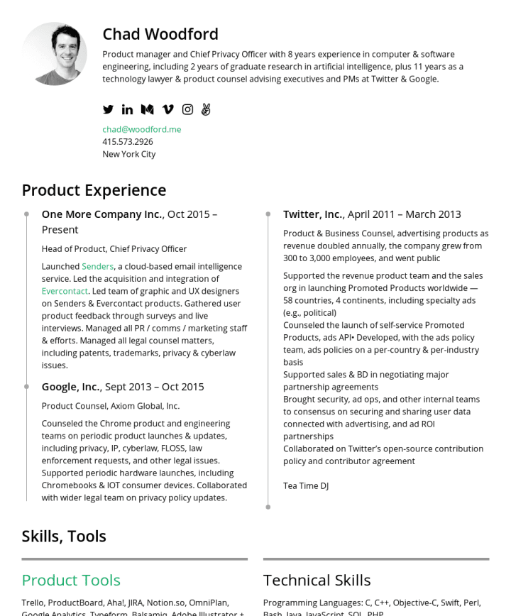 Chad Cakeresume Featured Resumes