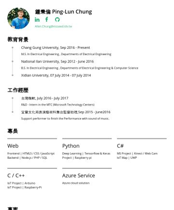 Resume Samples - 理,SepJune2016 Support performer to finish the Performance with sound of music. 專長 Web Frontend | HTML5 / CSS / JavaScript Backend | Node.js / PHP / SQL Python Deep Learning | Tensorflow & Keras Project | Raspberry pi C# MS Project | Kinect / Web Cam IoT Map | UWP C / C++ IoT Project | Arduino IoT...