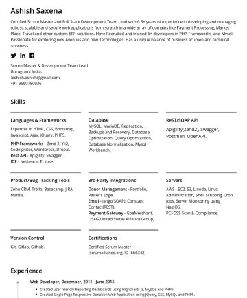 Scrum Master/Project Manager Resume Samples - Ashish Saxena Certified Scrum Master and Lead Technical Architect with 7+ years of experience in developing and managing robust, scalable and secure web applications from scratch in a wide array of domains like Payment Processing, Market Place, Travel and other custom ERP solutions. Have Recruited and trained 12+...
