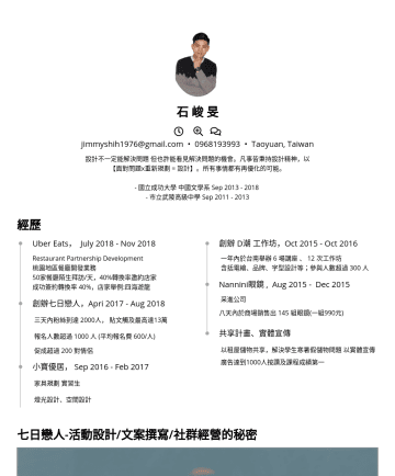 文案、數位行銷、社群行銷、顧問 Resume Samples - 石 峻 旻 jimmyshih1976@gmail.com • Taoyuan, Taiwan 設計不一定能解決問題 但也許能看見解決問題的機會。凡事皆秉持設計精神,以 【面對問題x重新規劃 = 設計】。所有事情都有再優化的可能。 - 國立成功大學 中國文學系 Sep市立武陵高級中學 Sep經...