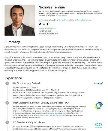 Resume Samples - Nicholas Tenhue High achieving and outcome-driven leader with a comprehensive skill set spanning research, design, planning, and implementation of ...