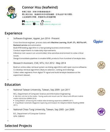 後端、數據分析 Resume Samples - the experiment dataset. Education National Taiwan University, Taiwan, SepJun 2011 M.S., Department of Computer Science and Information Engineering Me-link: Link me to the media - fusing audio and visual cues for robust and efficient mobile media interaction (WWWComp2Watch: enhancing the mobile video browsing experience (IMMPDSnap2Read: Automatic Magazine Capturing and...