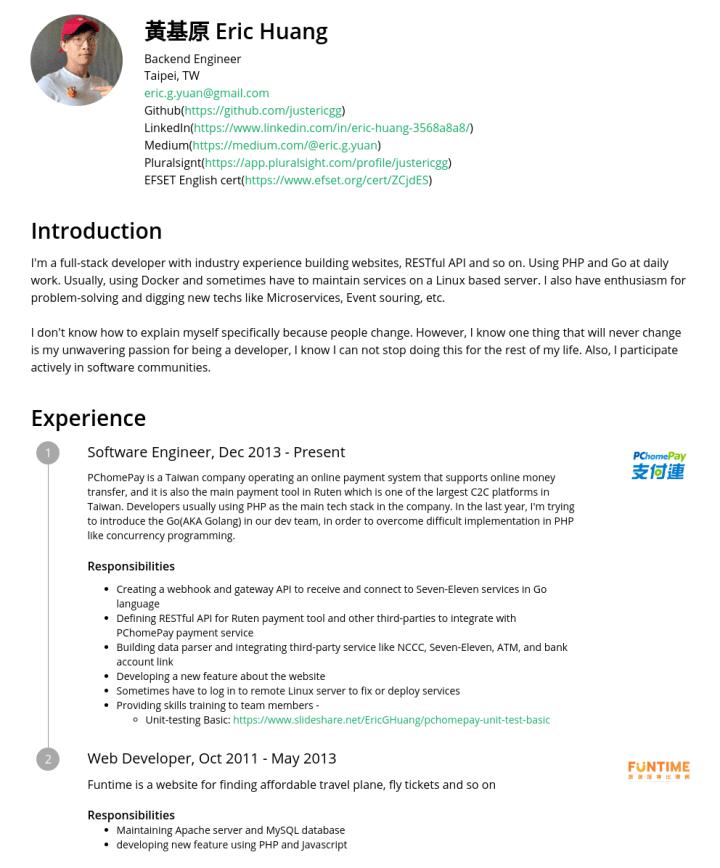 黃基原 – CakeResume Featured Resumes