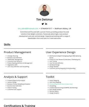 Resume Samples - Tim Dettmar tim_sdmd@hotmail.com • Waltham Abbey, UK Committed and focused with a proven history providing product-focused solutions that delight c...