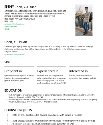 機器學習演算法工程師 Resume Samples - can efficiently contribute my skill and abilities in the field of computer science. Taoyuan, Taiwan cyhkelvin0530@gmail.com Skill Proficient in speech emotion recognition, machine learning, deep learning, Python, PyTorch framework, Praat Experienced in bioinformatics and computational biology, natural language processing, mood tracking system, Java, MATLAB, SAS, R, Linux(Ubuntu...