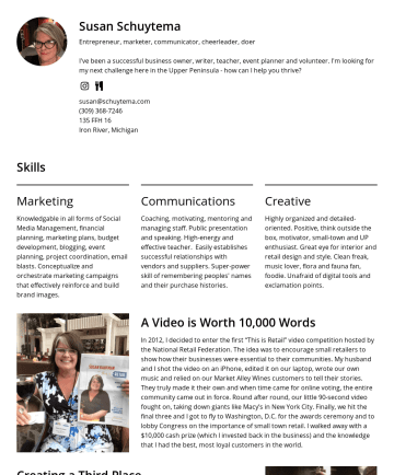Susan's CakeResume - Susan Schuytema Entrepreneur, marketer, communicator, cheerleader, doer I've been a successful business owner, writer, teacher, event planner and v...