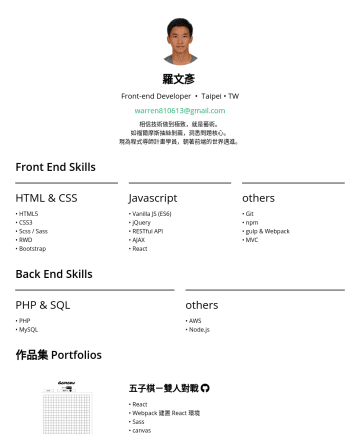 前端工程師 Resume Samples - 核心。 現為程式導師計畫學員,朝著前端的世界邁進。 Front End Skills HTML & CSS • HTML5 • CSS3 • Scss / Sass • RWD • Bootstrap Javascript • Vanilla JS (ES6) • jQuery • RESTful API • AJAX • React others • Git • npm • gulp & Webpack • MVC Back End Skills...