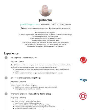 Resume Samples - UI modules for projects. Front-end Engineer / Yung-Ching Realty Group MayOct 2015 Yung-Ching is Taiwan's top brand of real estate. Cross browser testing and troubleshooting. Social network API connection with Facebook, Google Map. Responsive website (RWD) automatically changes to fit the device. Visualization data drove with D3...