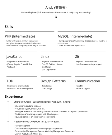 Software engineer Resume Samples - EngineerPresent System Design Fullstack Development Database Design GCP experience Interdisciplinary Cooperation ( Construction Management System ) Chungyo - Backend Engineere-Commerce Billions of data database experience 40+ teammates cooperation Cross-department cooperation KKBOX - InternMaintain Intranet Web Application Frontend, backend experience Skills Web Development PHP & MySQL Bootstrap iOS Development Swift Product - Money Mom...