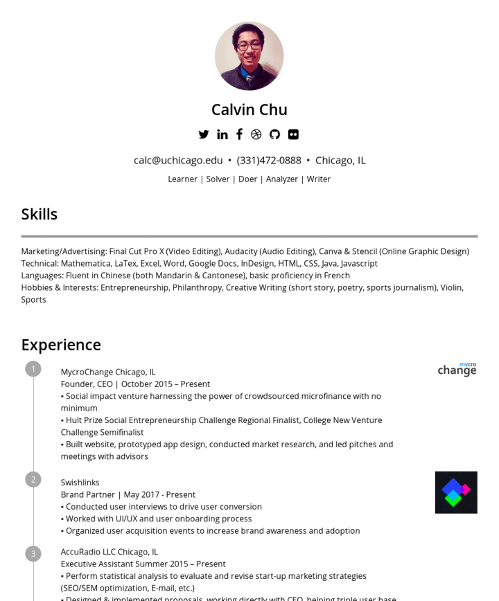 Calvin Chu Cakeresume Featured Resumes