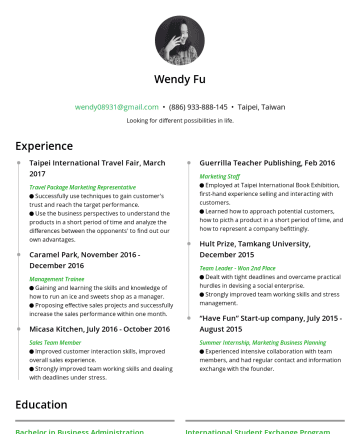 Resume Samples - University, New Taipei, Taiwan SepJune 2016 Major in International Business, All English lectured based GPA:Relevant Coursework: Service Marketing & Management/ Business Management/ Digital Marketing/ Statistics/ Technology Management International Student Exchange Program Université Jean Moulin Lyon 3, Lyon, France SepJune 2015 Business and Law Department Coursework: Managing Across Cultures/ French/ Cross...