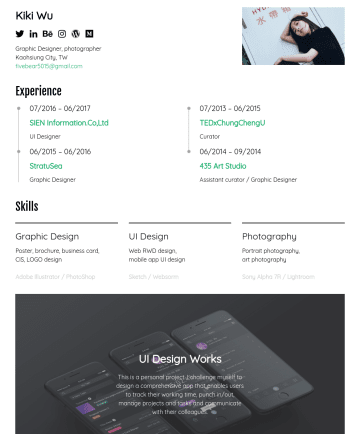 UI Designer Resume Samples - 學傳播學系(BA Degree, National Chung Cheng University,,目前攻讀美國聖荷西州立大學 Digital Media Art藝術碩士(MFA, San Jose State University,Blog: 琪琪不學無術 Hi, I'm Kiki, I'm now...