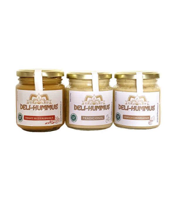 Pack 3 Hummus: Tomate seco y albahaca, Tradicional, y con Cebolla caramelizada.
