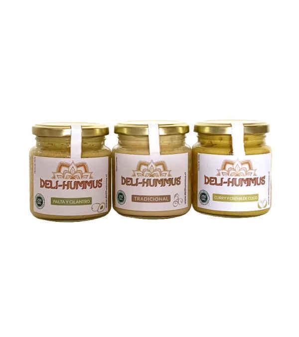 Pack 3 Hummus: Palta y cilantro, Tradicional, y con Curry y crema de coco.