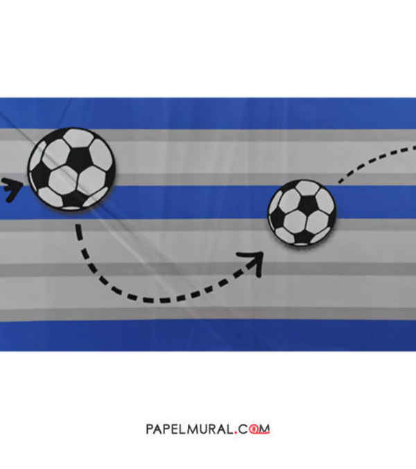 Papel Mural Guarda Infantil Fútbol Azul | Manekin