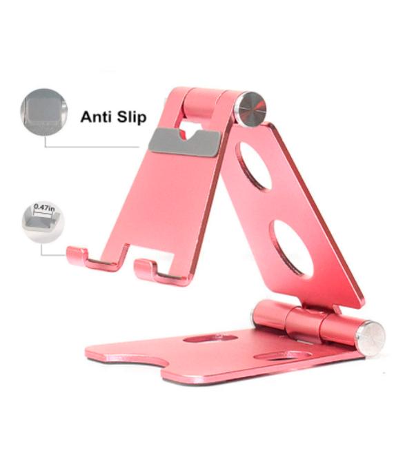 Base portátil metálica distintos colores para sostener celular o tablets, antideslizante