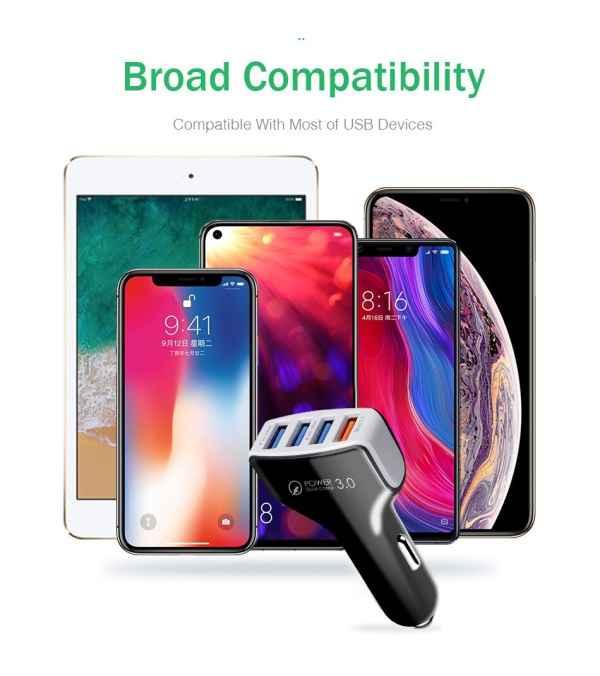 Cargador para auto de celular 4USB carga Ultra rápida, 3A y 2A, 12V.