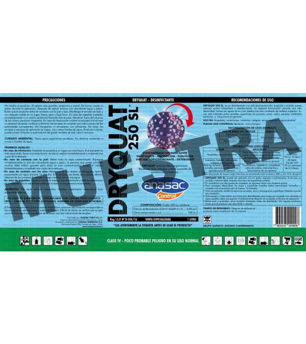 Dryquat 250 1L. Desinfectante/Sanitizante de Última Generación