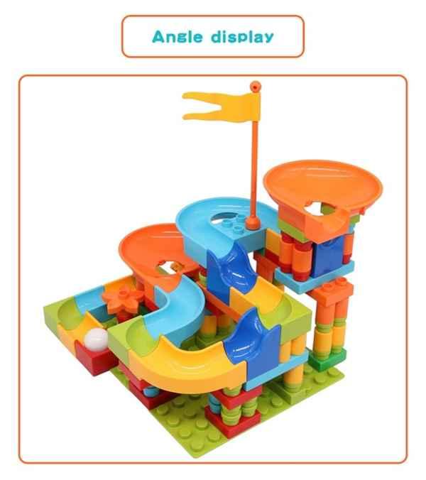 Bloques de construcción de carreras de canicas para niños 128 Piezas