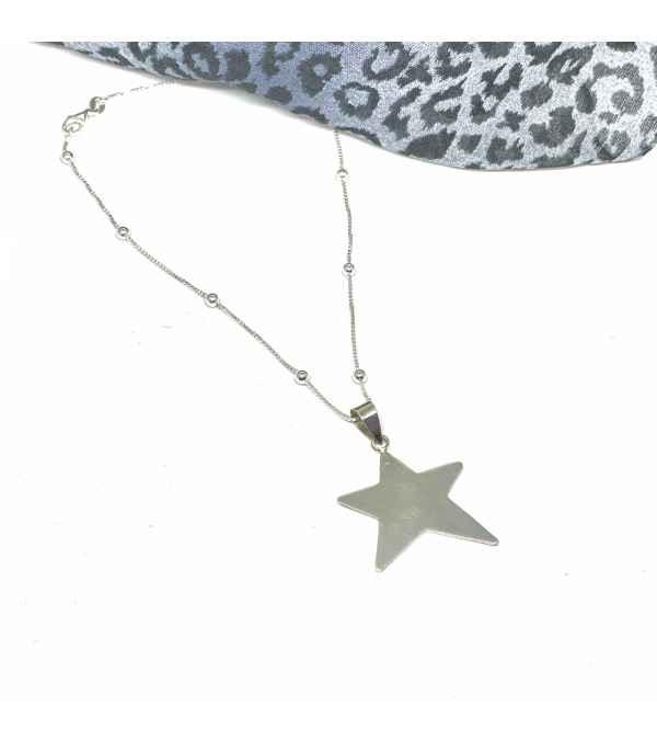 Collar bolitas con estrella Plata 925