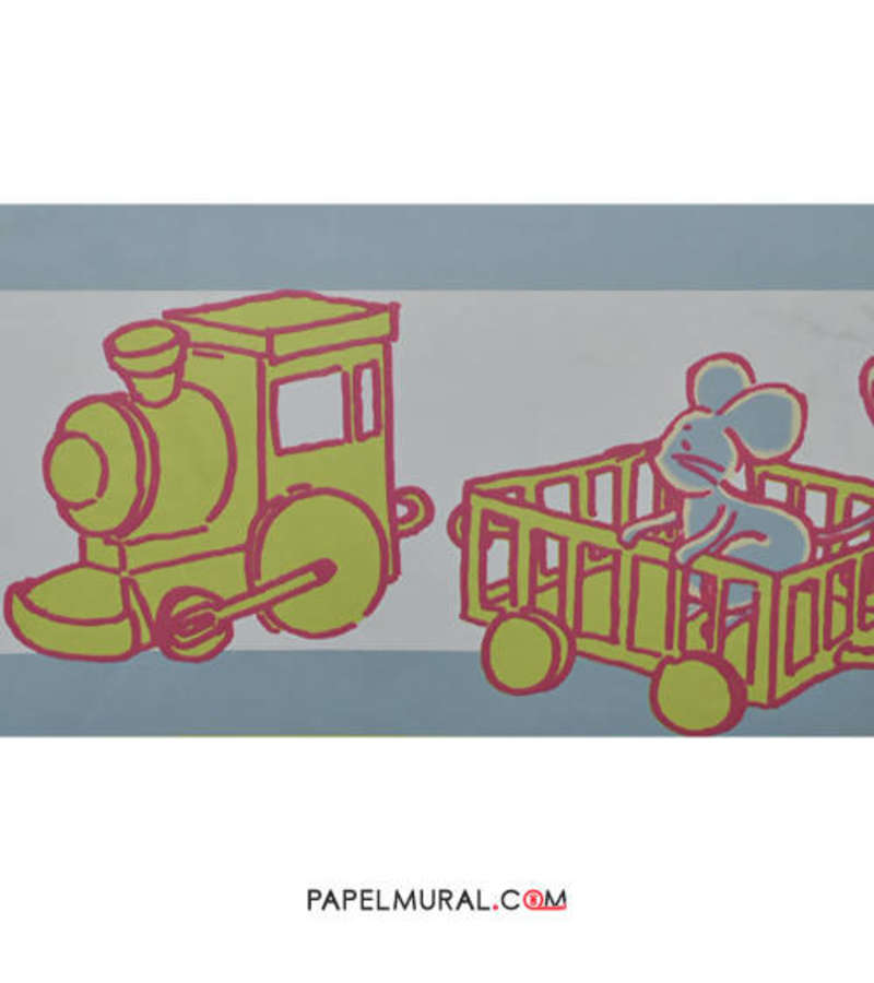 Papel Mural Guarda Infantil Ferrocarril Amarillo | Manekin