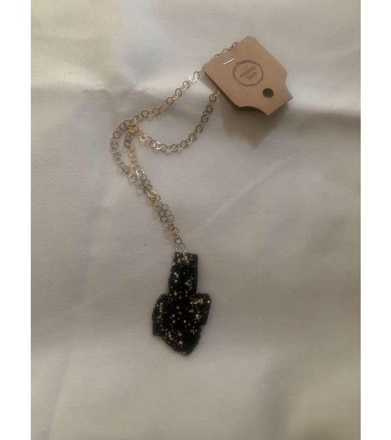 Collar Negro Con Brillos Cadena Metal (a374)