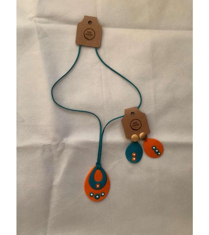 Conjunto Collar Y Aros Porcelana (a342)