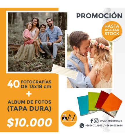 Impresión 40  Fotografías Tamaño 13x18 cms + Álbum tapa Dura