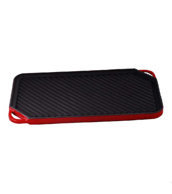 Plancha Grill  Hierro Esmaltado 50cm - Rojo