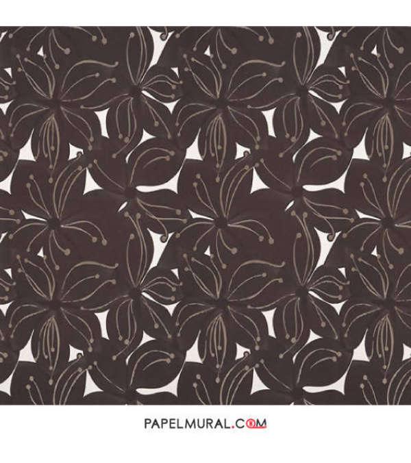 Papel Mural Diseño Rosas Café | Jade