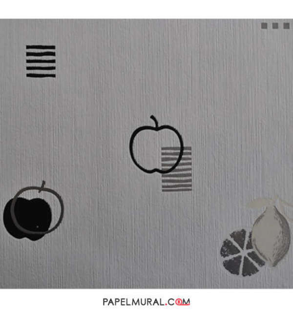 Papel Mural Diseño Frutas Negro | Texturi Trends