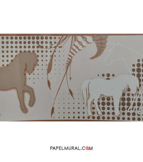 Papel Mural Guarda Infantil Caballos Café | Manekin