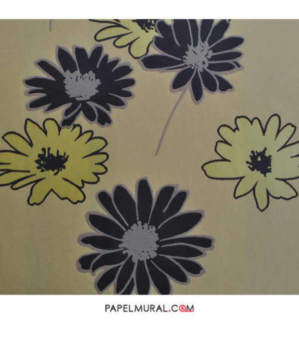 Papel Mural Flores Negro/Amarillo | Avenzio ll