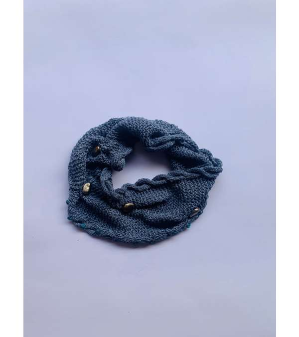 cuello tejido en lino con aplicaciones (a038)