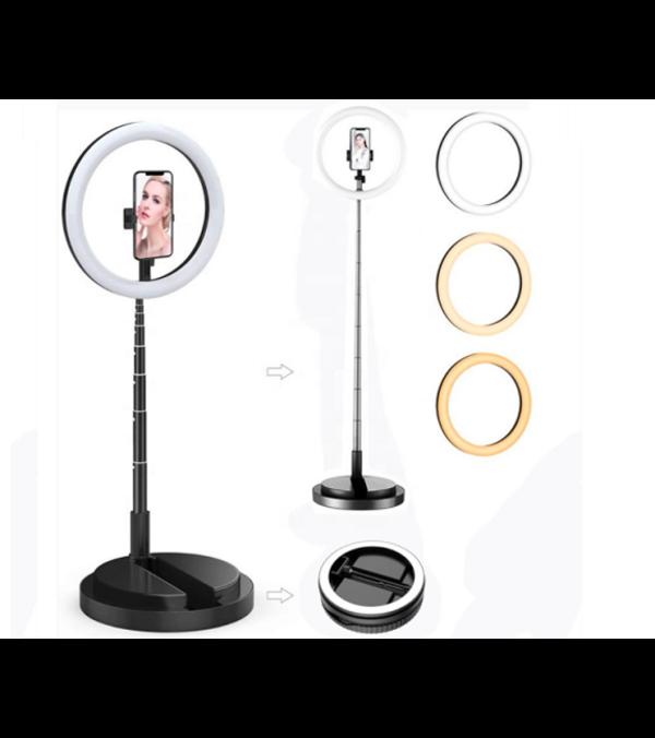 Aro de Luz LED 26 cm diámetro, trípode de 1,7 mts. ajustable a escritorio. Portátil con Batería, luz cálida o blanca