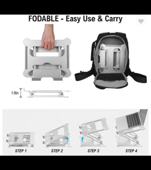 Soporte ergonómico aluminio antideslizante, ajustable desde tablet a grandes laptop