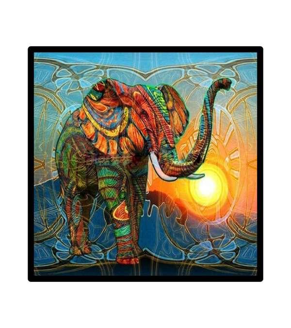Pintura de Diamantes Diamond Painting Elefante Indio 30x30 cms