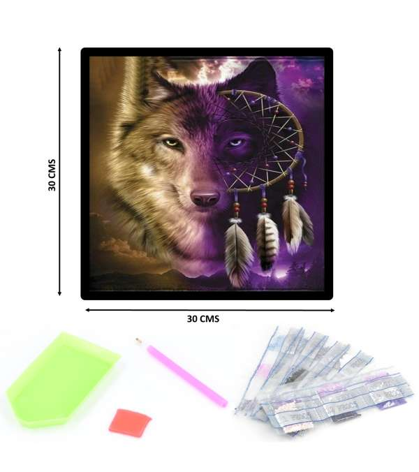 Pintura de Diamantes Diamond Painting Lobo Atrapa-sueños 30x30 cms