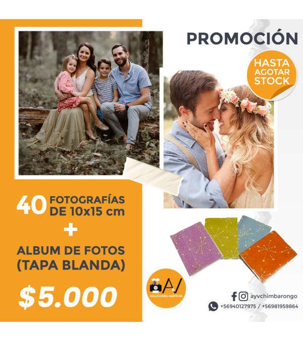Impresión 40 Fotografías 10x15 cms + Álbum tapa blanda