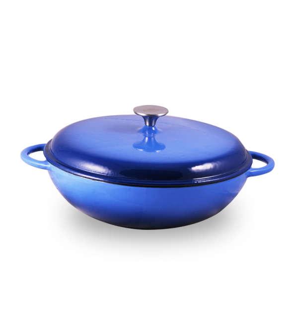 Olla Baja Hierro Fundido 30cm- Azul