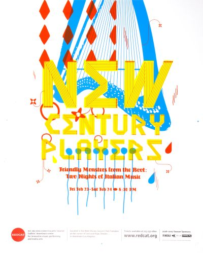 CalArts poster: REDCAT: New Century Players by Jose Hernandez Mike Afsa