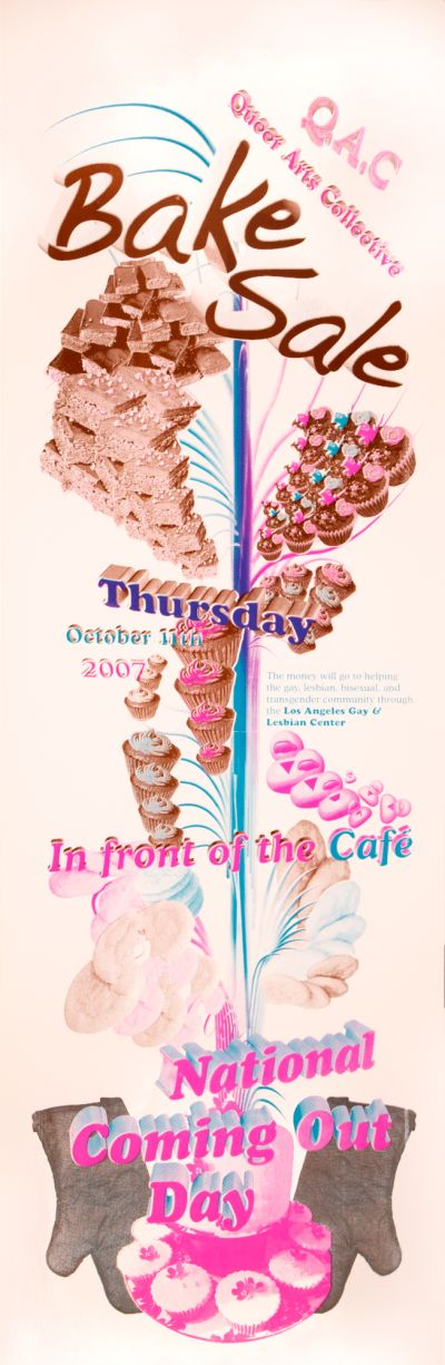 CalArts poster: Queer Arts Collective: Bake Sale, National Coming Out Day by Kurtis Kennington