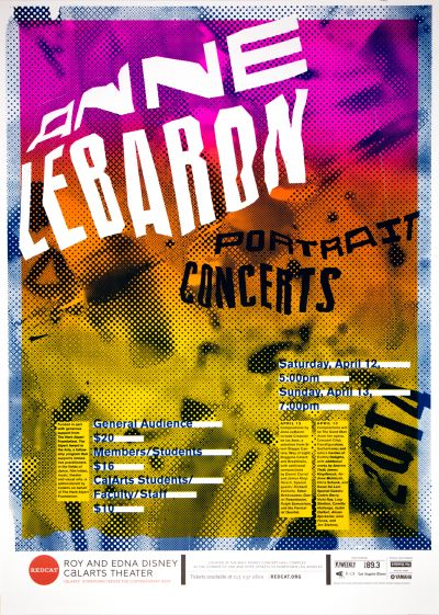 """CalArts poster: REDCAT: Anne Lebaron, """"Portrait Concerts"""" by David Chathas Jessie Zo"""
