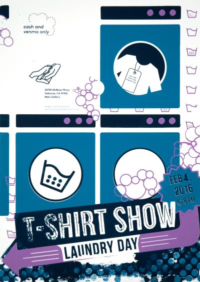 CalArts poster: 2016 T-Shirt Show by Mina Shoaib Sam Jung Tiffany Lee
