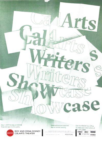 CalArts poster: REDCAT: CalArts Writers Showcase by Aamina Ganser Sohee Kim [II]